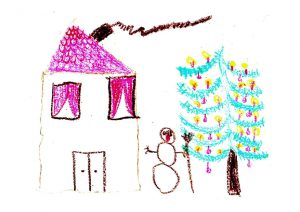 selbstgemaltes Bild mit Haus und einem Schneemann vor einem bunt beleuchteten Weihnachtsbaum